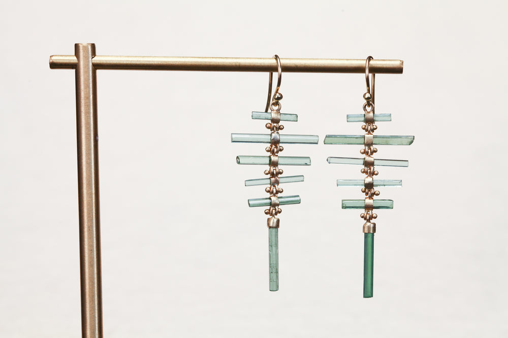 Load image into Gallery viewer, Tourlamine Fishbone Earrings