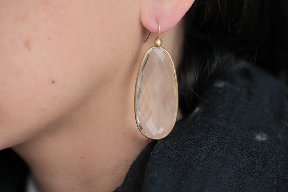 Tej Kothari Chalcedony Egg Slice Earrings | OK