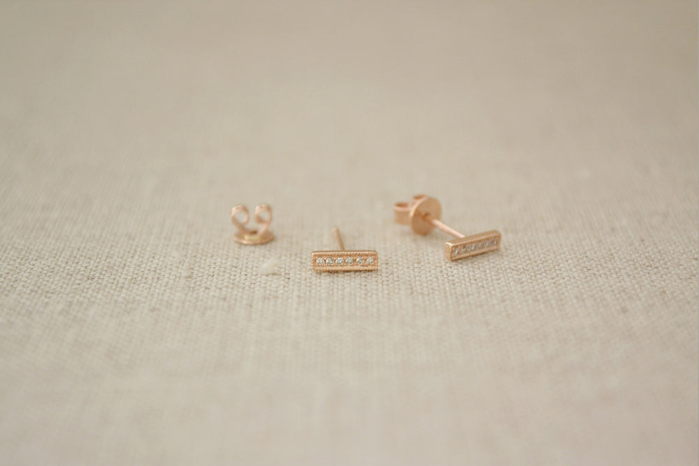Pave Rose Gold Diamond Bar Earrings | OK