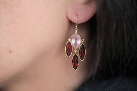 Tej Kothari Rose Quartz and Garnet Earrings | OK