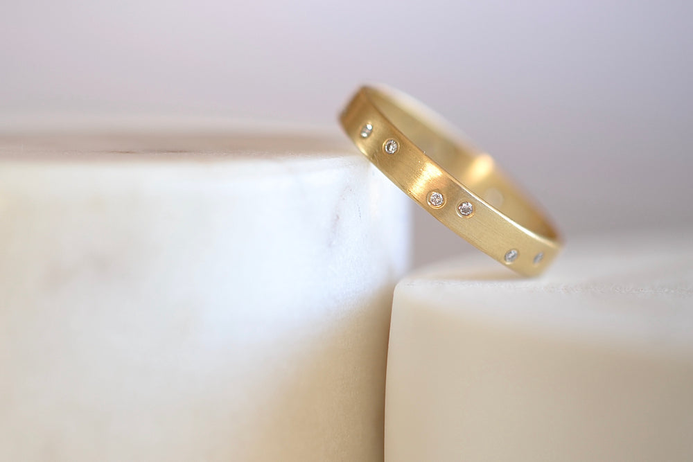 Marion Maurer Starry Night Band with Diamonds 17 seventeen randomly set yellow satin finish wedding engagement