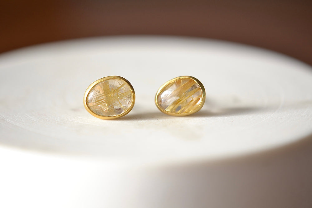 Rutilated Quartz Classic Studs
