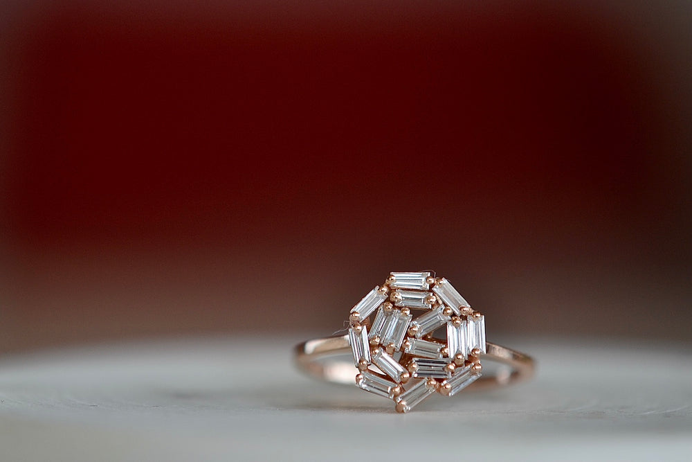 Suzanne Kalan 10mm Round Baguette Cluster Ring BAR100 RG is a round white diamond baguette cluster circle set on a square 18k rose gold band on fireworks setting.