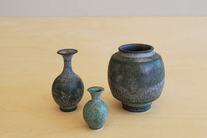 Miniature Handthrown Ceramic Vase Trio -Greens