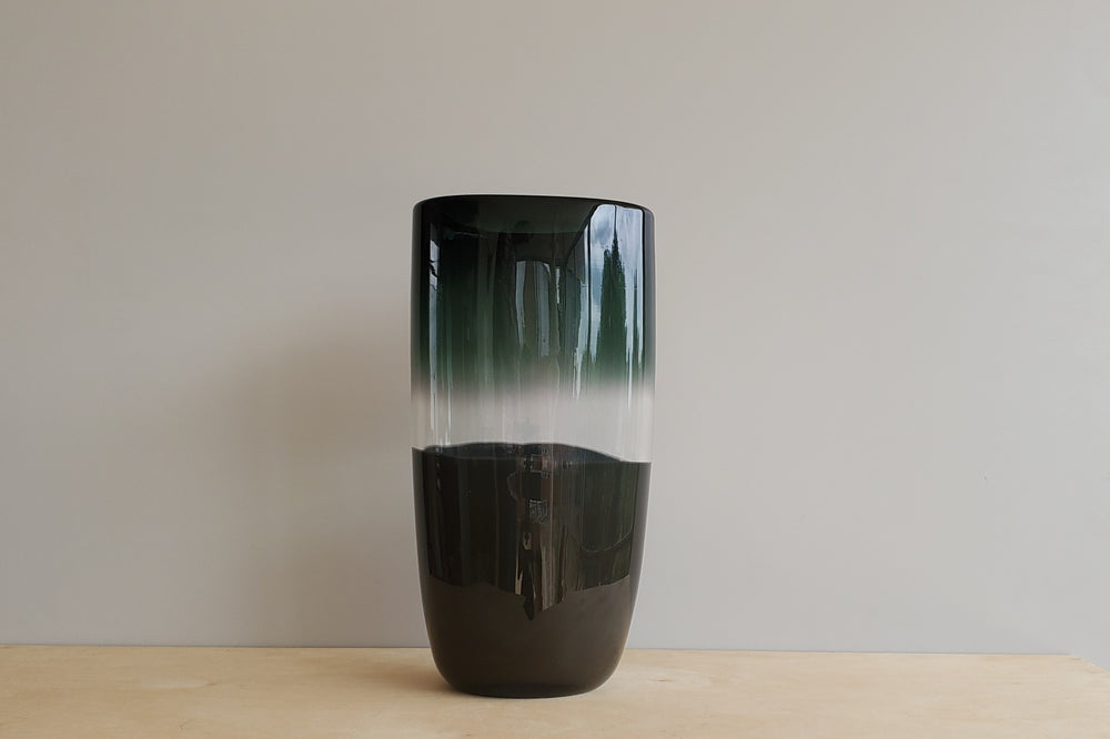 Scuro Black & Charcoal Flat Cylinder Vase Large