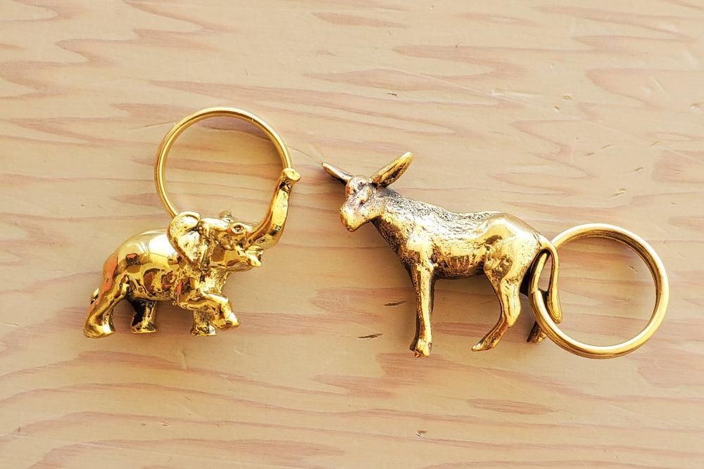 "Aubock Key Rings ""Elephant #5607"" and ""Donkey 5608"""