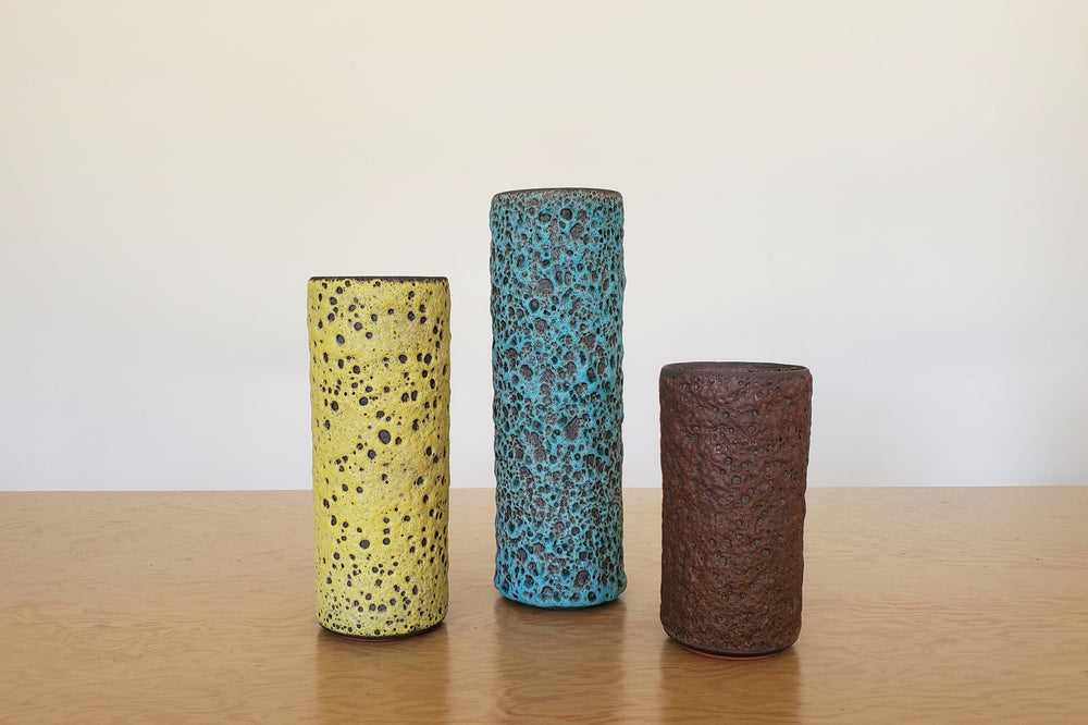 Tube Vases with Volcanic Glazes