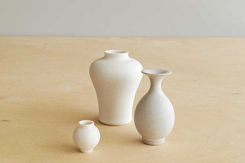 Miniature Handthrown Ceramic Vase Trio - Whites