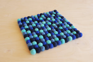 Wool Felt Pom Pom Trivet from Nepal