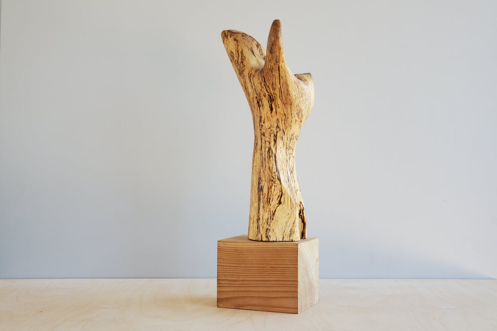 Japanese Abstract Wood Sculpture by Teruo Kinoshita
