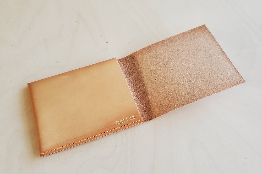 Simple Flap Wallet Natural Leather