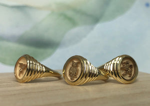 Retrouvai Baby Fantasy Signet in Flying Pig, Owl and Lion 14k polished tiered yellow gold