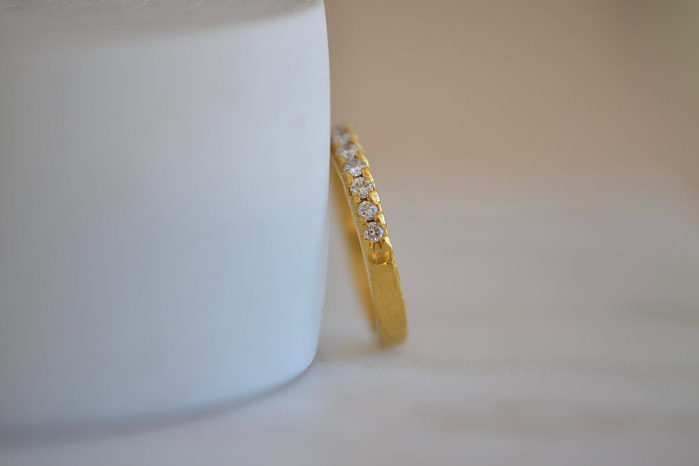 Black Barc Mizuki Hina Half  Eternity 24k yellow gold wedding band