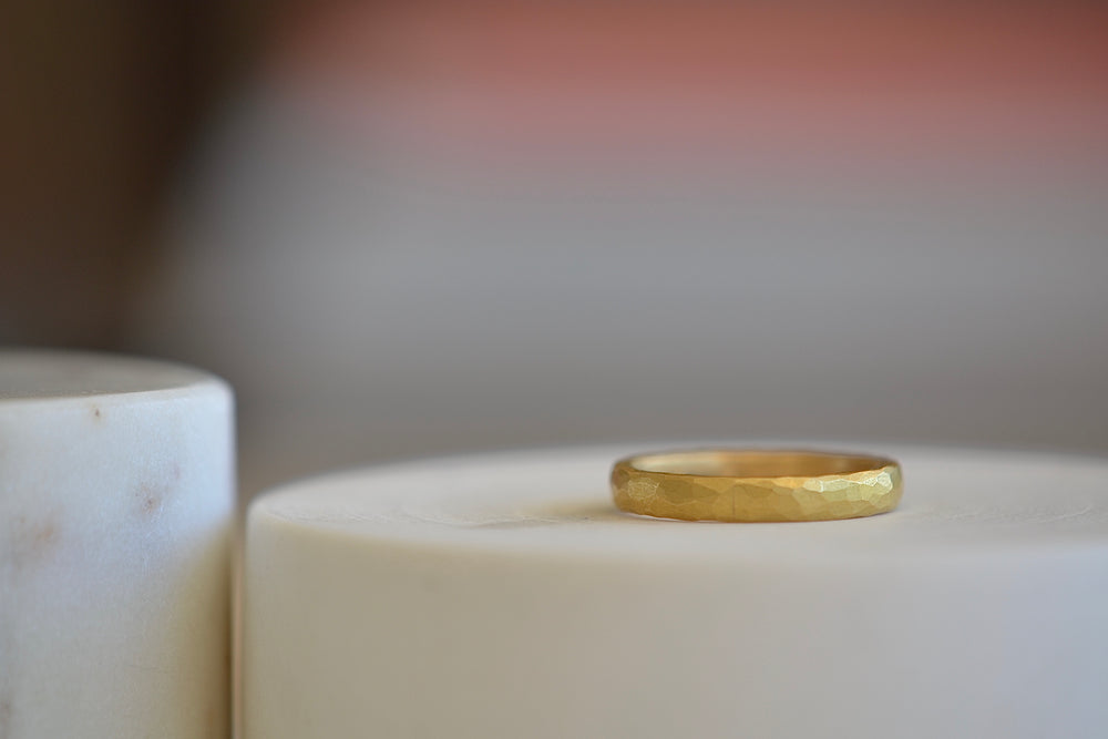 Malcolm Betts Hammered 3.5 mm 22k Yellow Gold Wedding Band