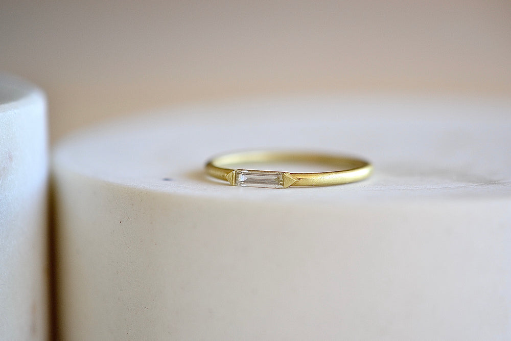 Ila Rue Diamond Ring Rue in Diamonds white baguette on 14k yellow sustainable gold satin finish