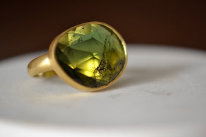 Pippa Small Green Tourmaline  Large Greek Ring 18k yellow gold
