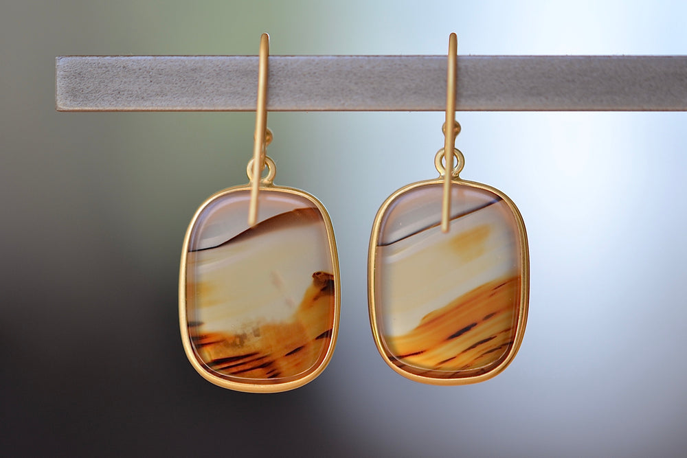 Tej Kothari for Source. Square and one of a kind Montana Agate Earrings in 18k yellow gold bezel and ear wire
