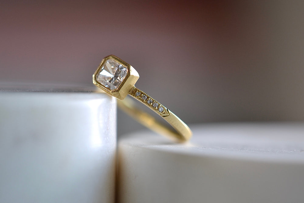 Load image into Gallery viewer, Jennifer Dawes Blockette Bezel Set Engagement Ring 18k yellow gold pave cushion cut