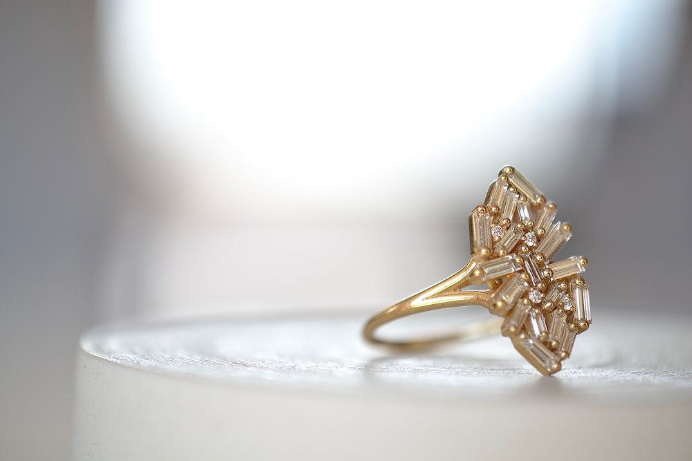 Suzanne Kalan Firework Marquise Ring White Baguette diamonds and 18k yellow gold