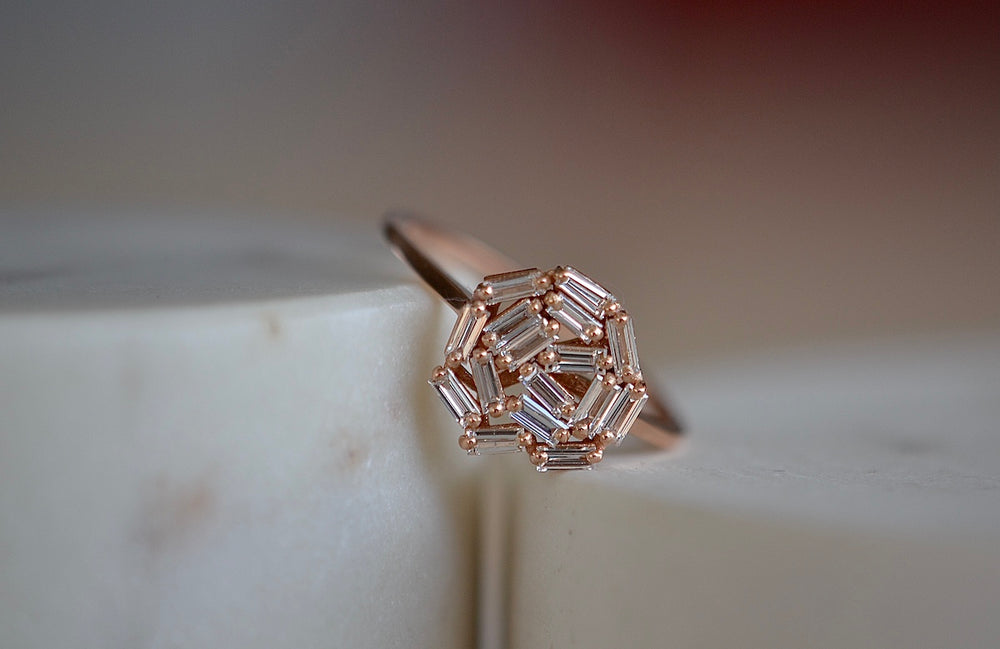 Suzanne Kalan 10mm Round Baguette Cluster Ring BAR 100 RG is a round white diamond baguette cluster circle set on a square 18k rose gold band on fireworks setting.