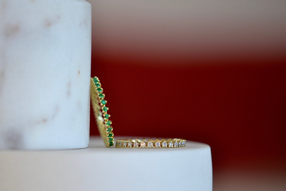 Reed Ring with Diamonds or Emeralds