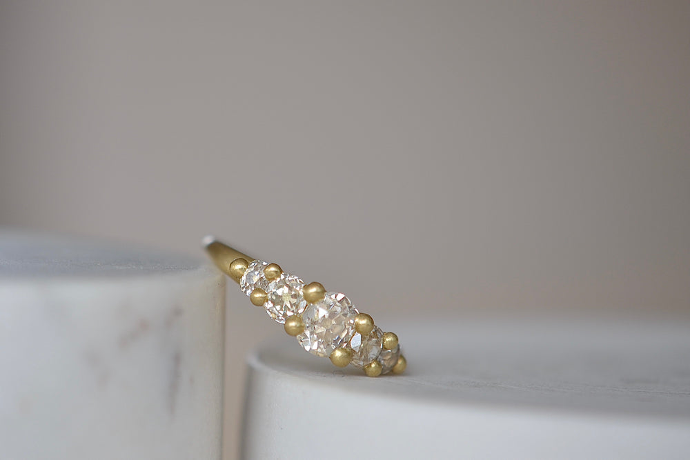 Polly Wales Five (5) Diamond Eden Petal Ring in 18k yellow gold size 7 cast not set one of a kind