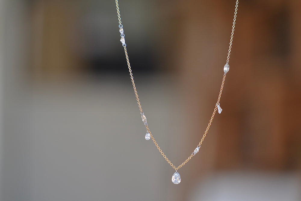 Marquise and Pear Diamond Free Set Necklace