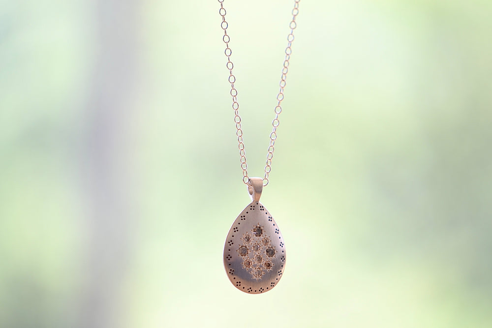 Adel Chefridi Silver Lights Teardrop Pendant Necklace Champagne Diamonds Sterling Silver etching etched detail details