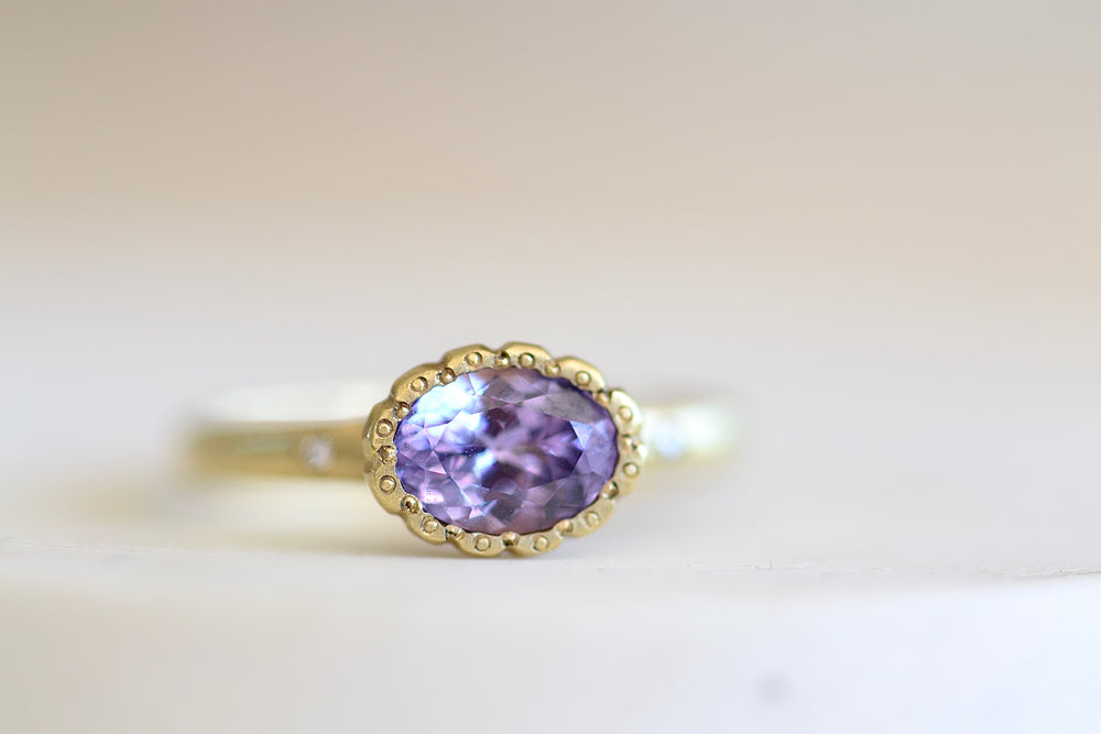 Load image into Gallery viewer, Adel Chefridi Purple Sapphire Blossom ring 18k yellow gold, purple sapphire, diamonds satin finish