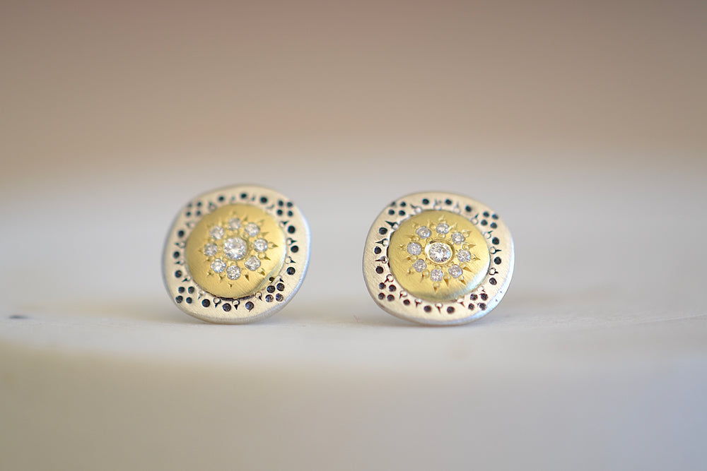 Adel Chefridi Seeds of Harmony Charm Studs Earrings 18k yellow gold, Sterling Silver and diamonds