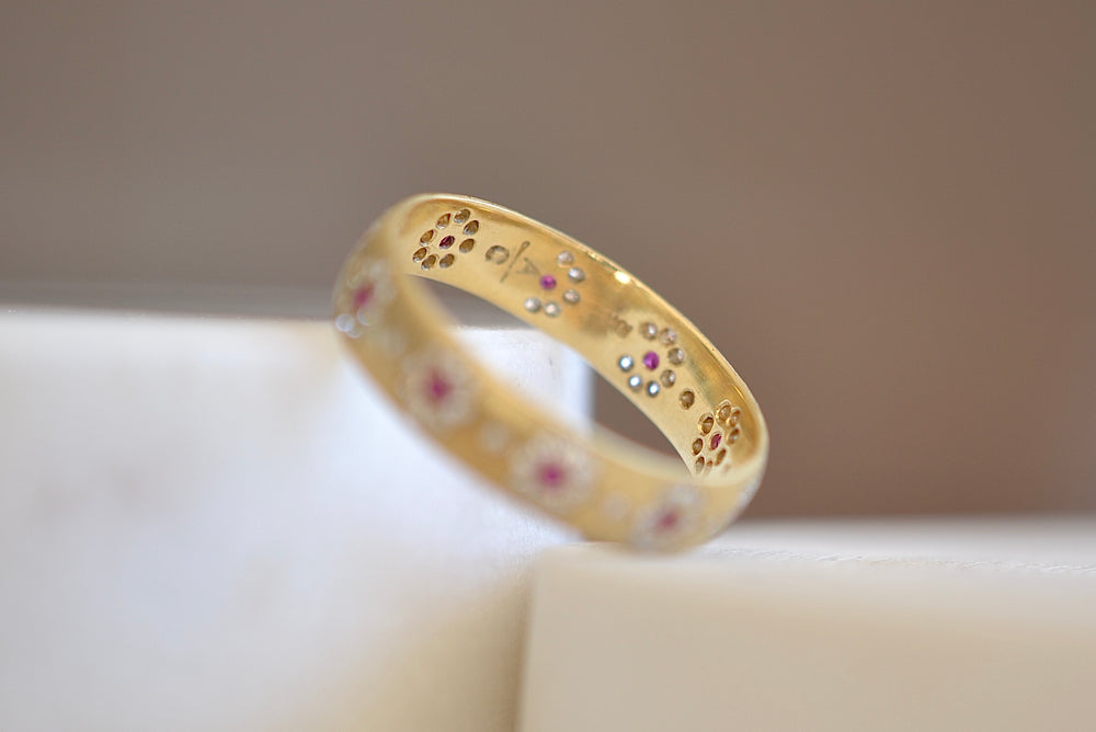 Rounded Shimmer Band with Rubies