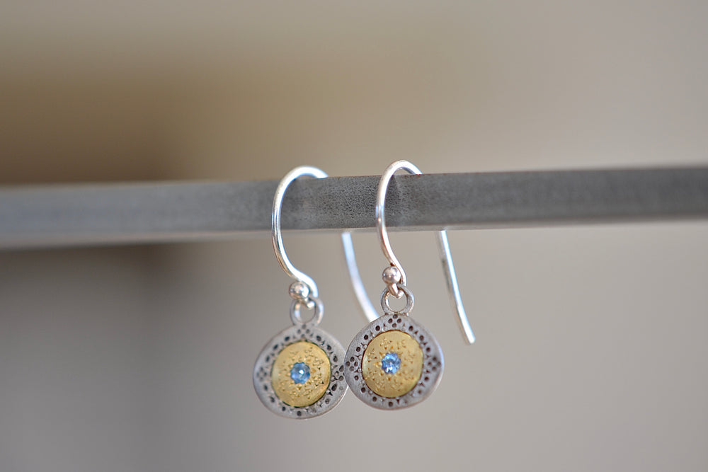 Adel Chefridi Seeds of Harmony Aquamarine Earrings 18k yellow gold, Sterling Silver and aquamarine