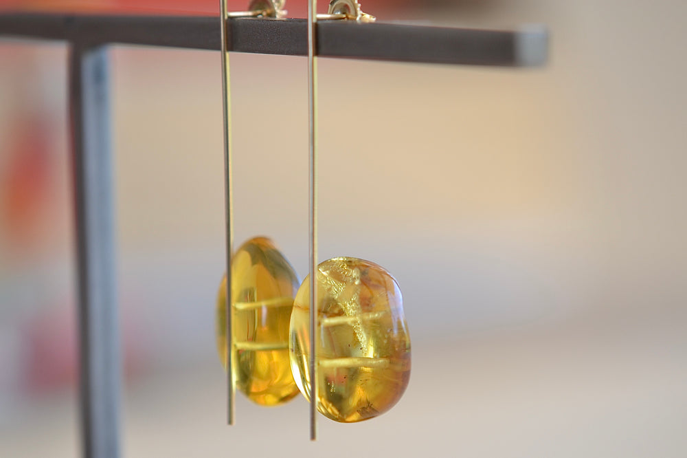 Kathleen Whitaker Amber on Strand Earring Stick  14k yellow gold