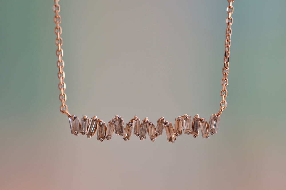 Suzanne Kalan Champagne Baguette Bar Necklace 18k Rose Gold  Rhodium