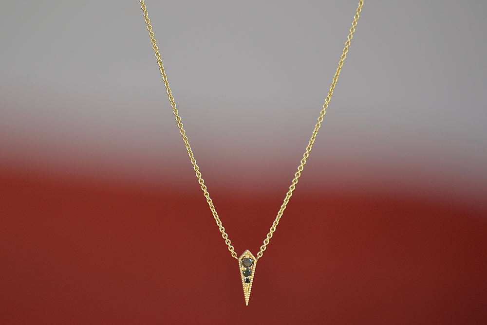 Single Kite Necklace with Black Diamonds