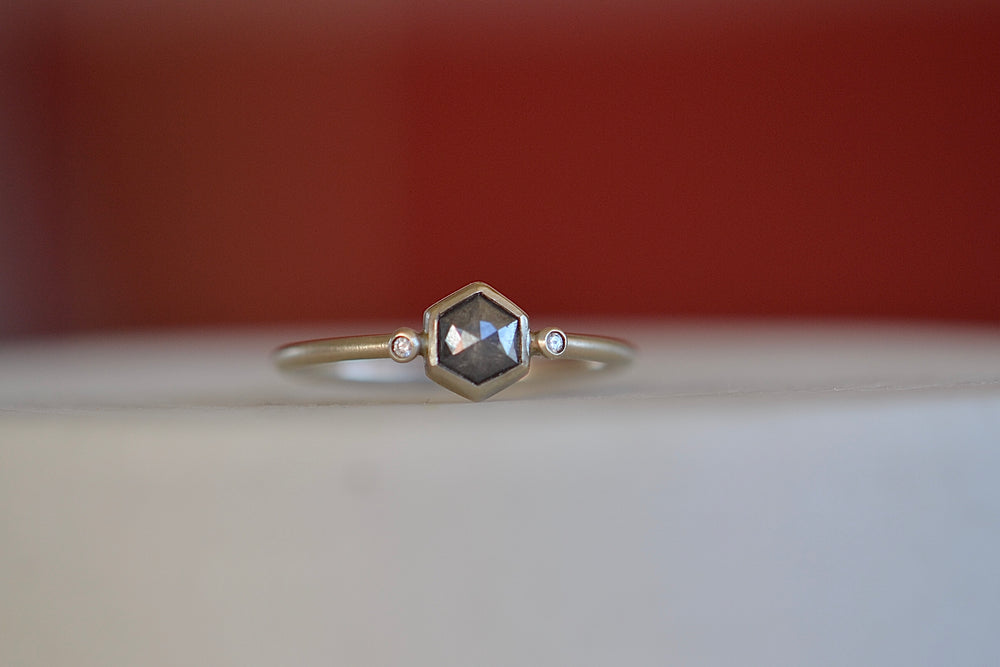 Load image into Gallery viewer, Rebecca Overmann Black Hexagon Diamond  Ring Rose cut grey champagne Faceted between two 2 small tiny diamonds 14k white gold band