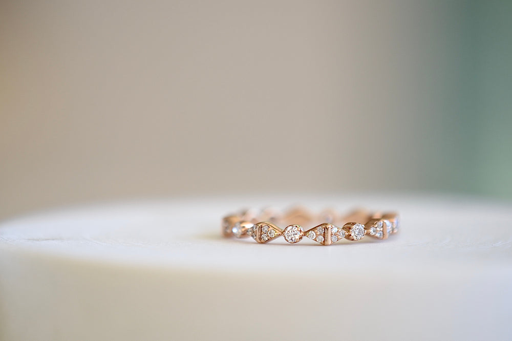 Load image into Gallery viewer, Sethi Couture Bow Band white diamonds pave 18k rose gold 2mm White diamonds