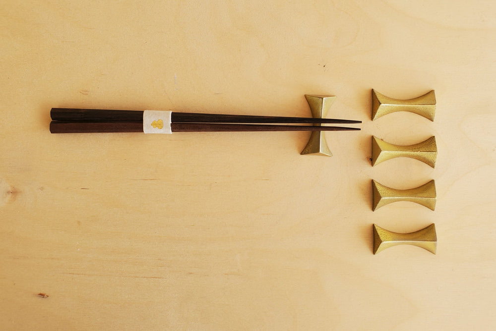 Japanese Brass Chopstick Rest Set of 5