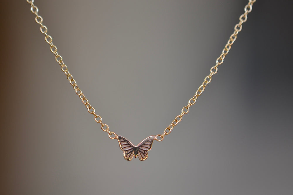Zoe Chicco Itty Bitty 14k Butterfly necklace recycled yellow gold on cable chain charm pendant