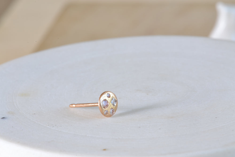 Load image into Gallery viewer, Polly Wales Celeste Disc Stud XS White Sapphires confetti