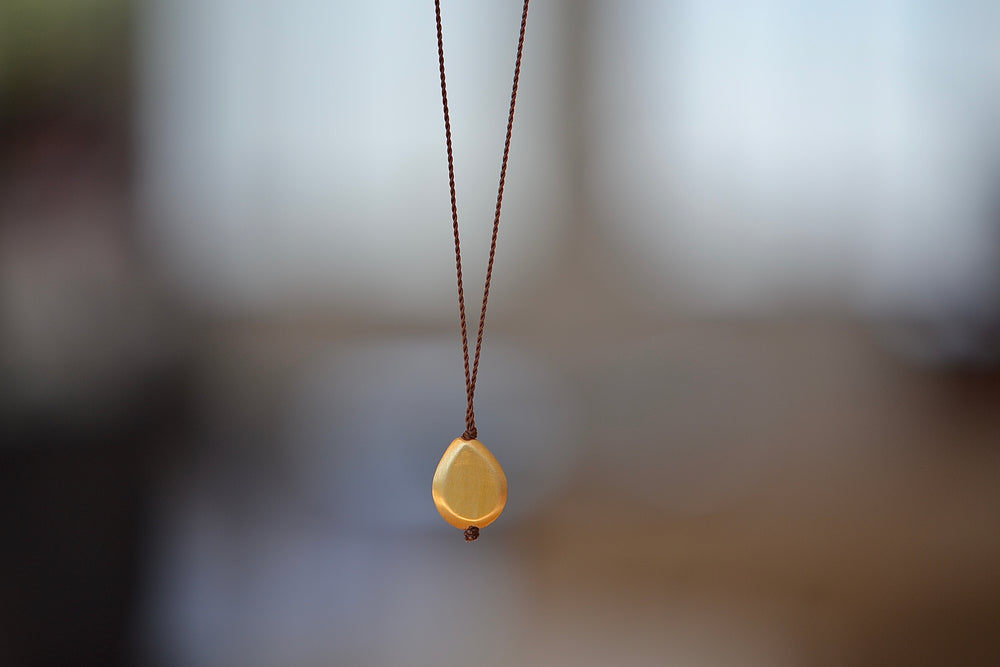 Margaret Solow 18k Gold Pendant Necklace Chiseled Drop Nylon Cord
