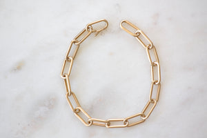 OK Oval Link Bracelet with Hidden Closure 14k yellow matte satin finish gold