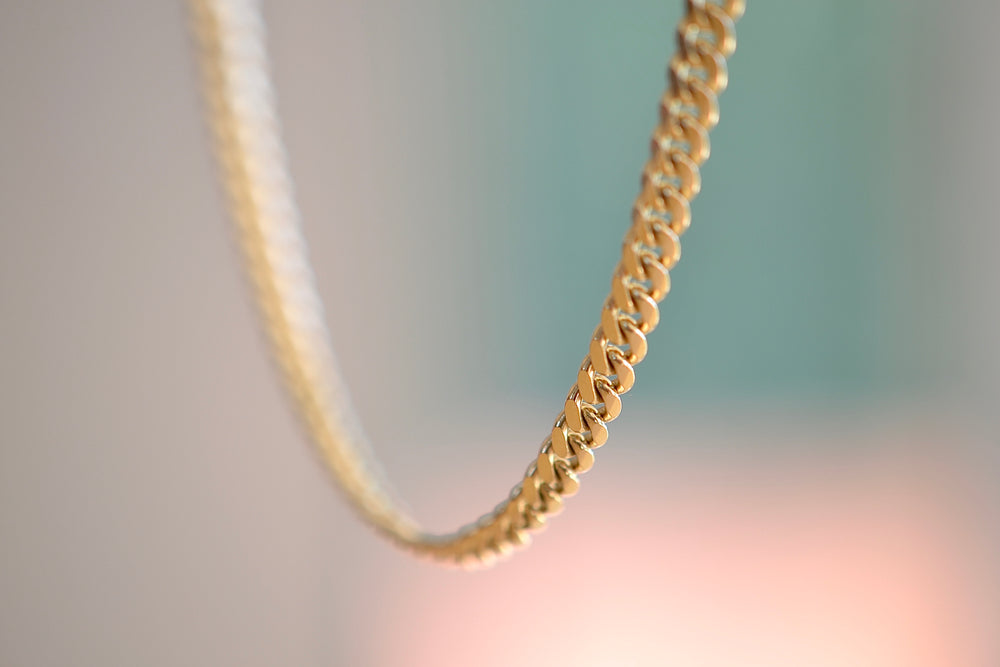 "Bar Cuban Chains 14k yellow gold 20"" in 4mm wide Handmade in Los Angeles"