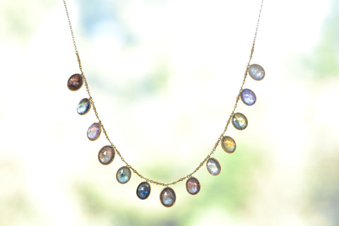<small>Tej Kothari</small><br>Sapphire Oval Fringe Necklace