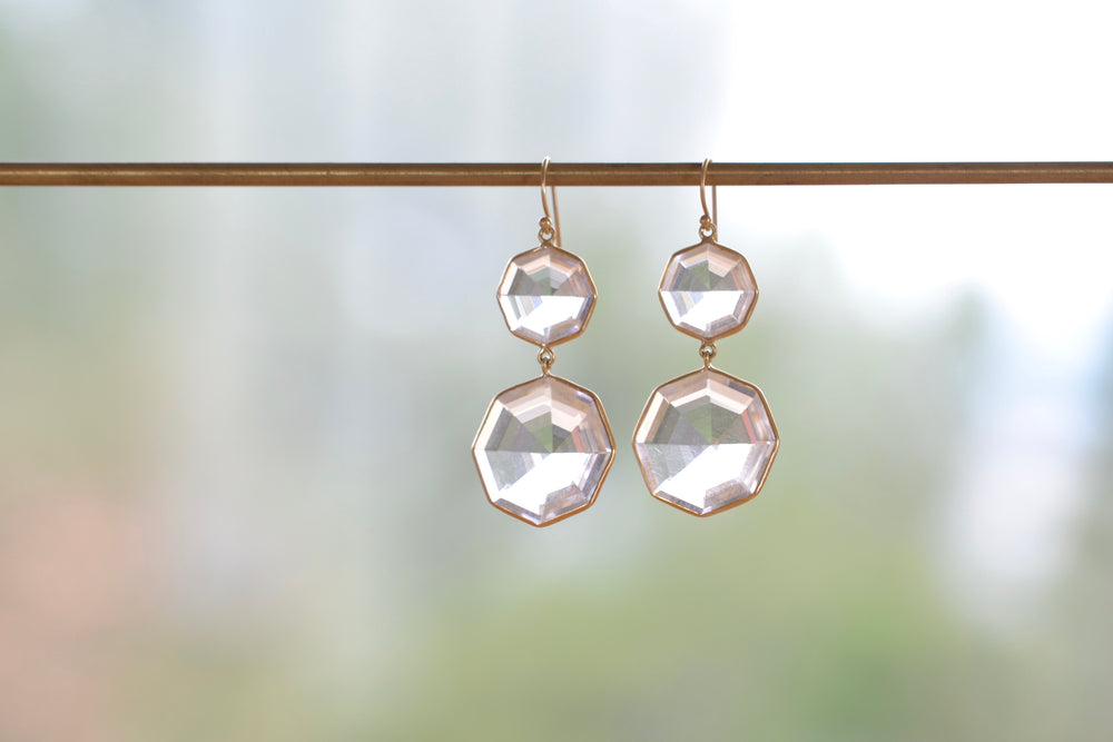 Faceted Clear Quartz Octagon 2-Drop Earrings