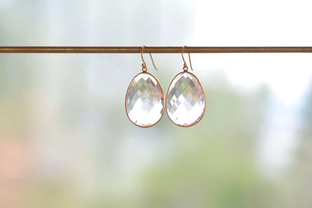 Clear Faceted Quartz Egg Slice Earrings