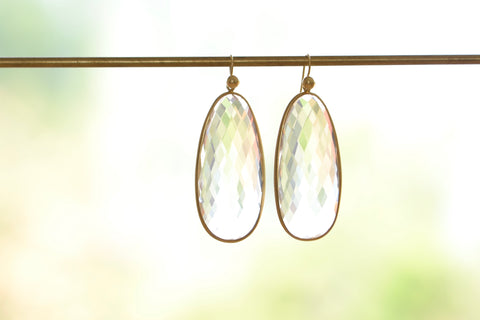 <small>Tej Kothari</small><br>Large Clear Faceted Quartz Egg Slice Earrings