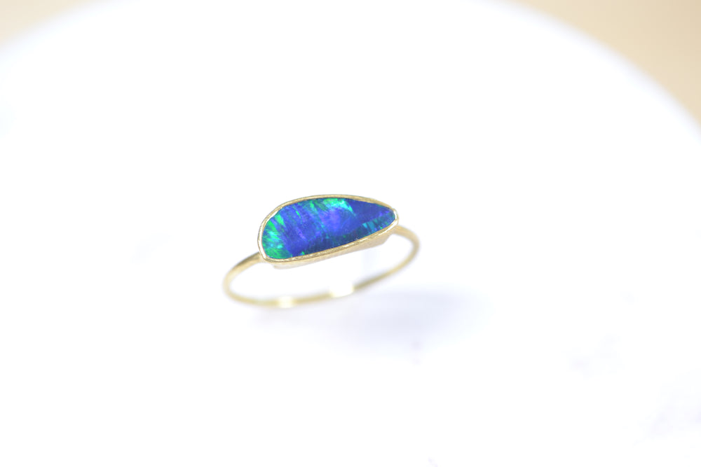 Load image into Gallery viewer, Tej Kothari Boulder Opal Free Form Ring blue green 18k yellow Gold
