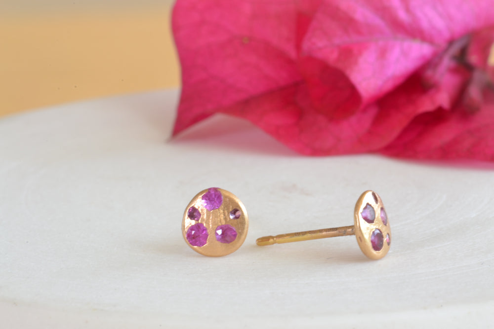 Ruby Extra Small Celeste Disc Studs