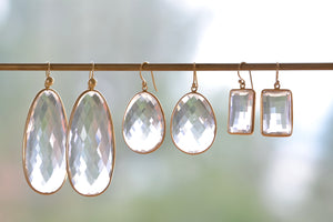 Large Clear Faceted Quartz Egg Slice Earrings